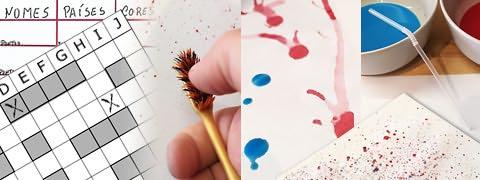 (Montagem) Quadrícula de batalha naval por cima de grelha com nomes e países, polegar por cima de escova salpicando tinta, gotas e sulcos de tinta, tigelas de tinta com palhinha e folha com muitos salpicos