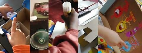 (Montagem) Mão ajeitando caixa com divisórias, tampa de garrafa em caixa negra, mão aplicando cola em batom, cartão recortado e mão apontando para desenhos recortados e coloridos colados em interior de caixa