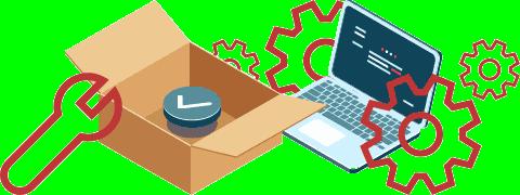 (Ilustração) Caixa de cartão aberta, computador portátil, chave inglesa e rodas dentadas