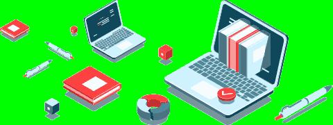 (Ilustração) Computador portátil com livros saindo do ecrã, caneta, cubos e gráfico em anel
