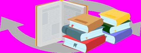 (Ilustração) Livro aberto, livros empilhados e 2 setas curvas por baixo
