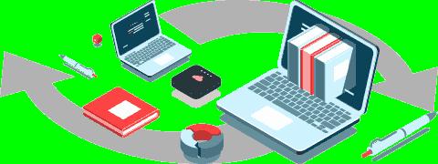 (Ilustração) Computador portátil com livros saindo do ecrã, caneta, gráfico em anel e setas curvas em fundo