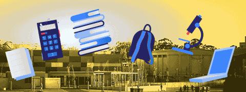 Folha, calculadora, livros, mochila, microscópio e PC portátil (ilustrações azuladas) sobrepostos a fotografia da Escola (tons amarelados)