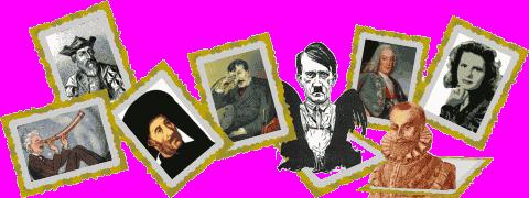 Várias molduras em inclinações diferentes contendo diferentes retratos