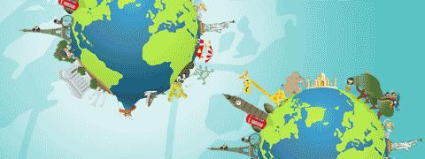(Ilustração) Monumentos, pessoas e animais na superfície da Terra com pormenor do globo (alguns continentes e meridianos) em fundo